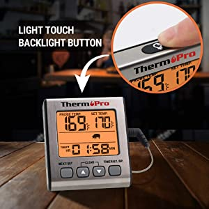 ThermoPro TP-16S Digital Meat Thermometer Accurate Candy Thermometer Smoker Cooking Food BBQ Thermometer for Grilling with Smart Cooking Timer Mode and Backlight (Color: Orange Meat Thermometer, Tamaño: Meat Thermometer)