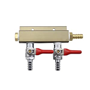"""The Weekend Brewer 2-way 5/16"""" Barb CO2 Splitter Distributor Manifold with integrated check valves"""