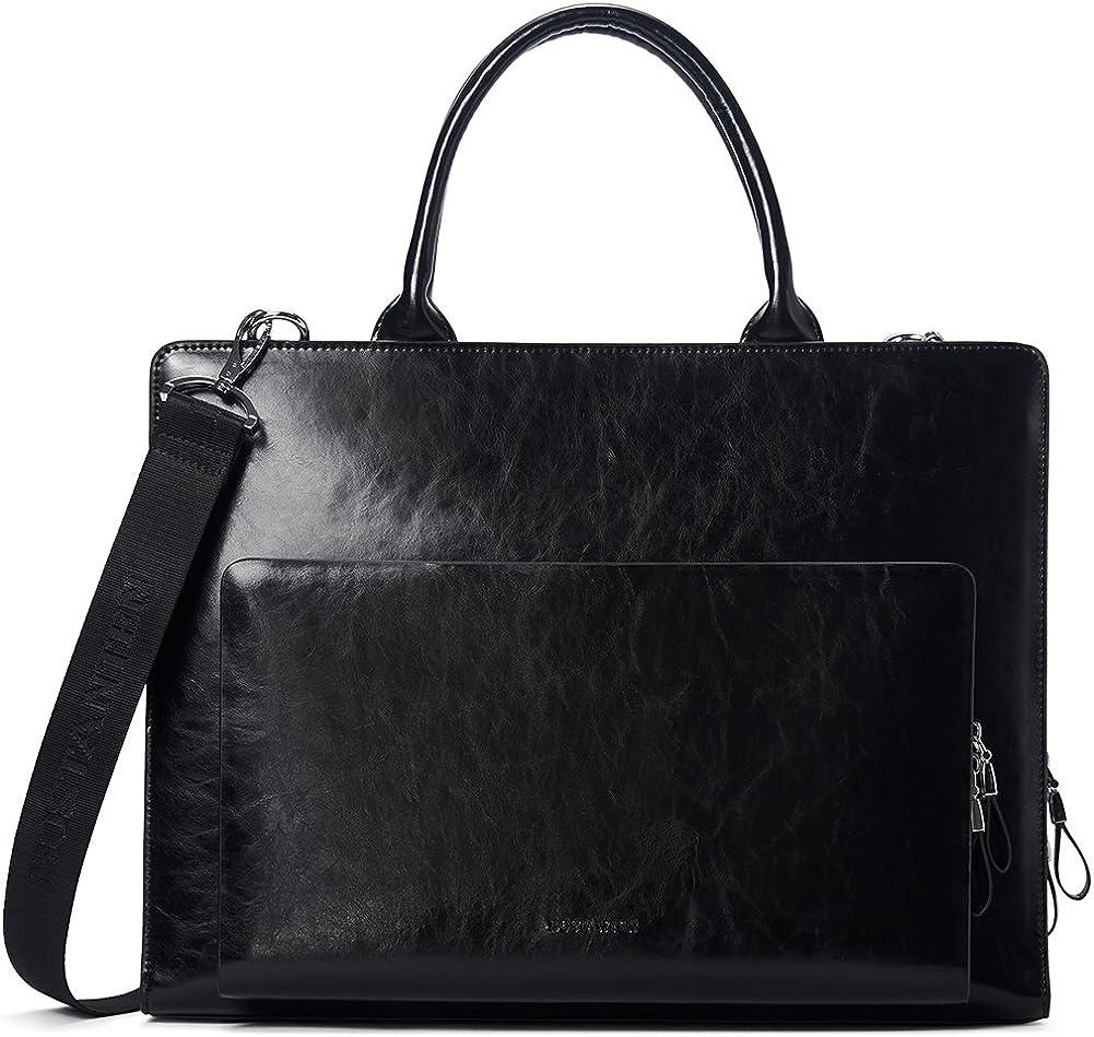 BOSTANTEN Leather Briefcase Shoulder Laptop Business Vintage Slim Bags for Men & Women