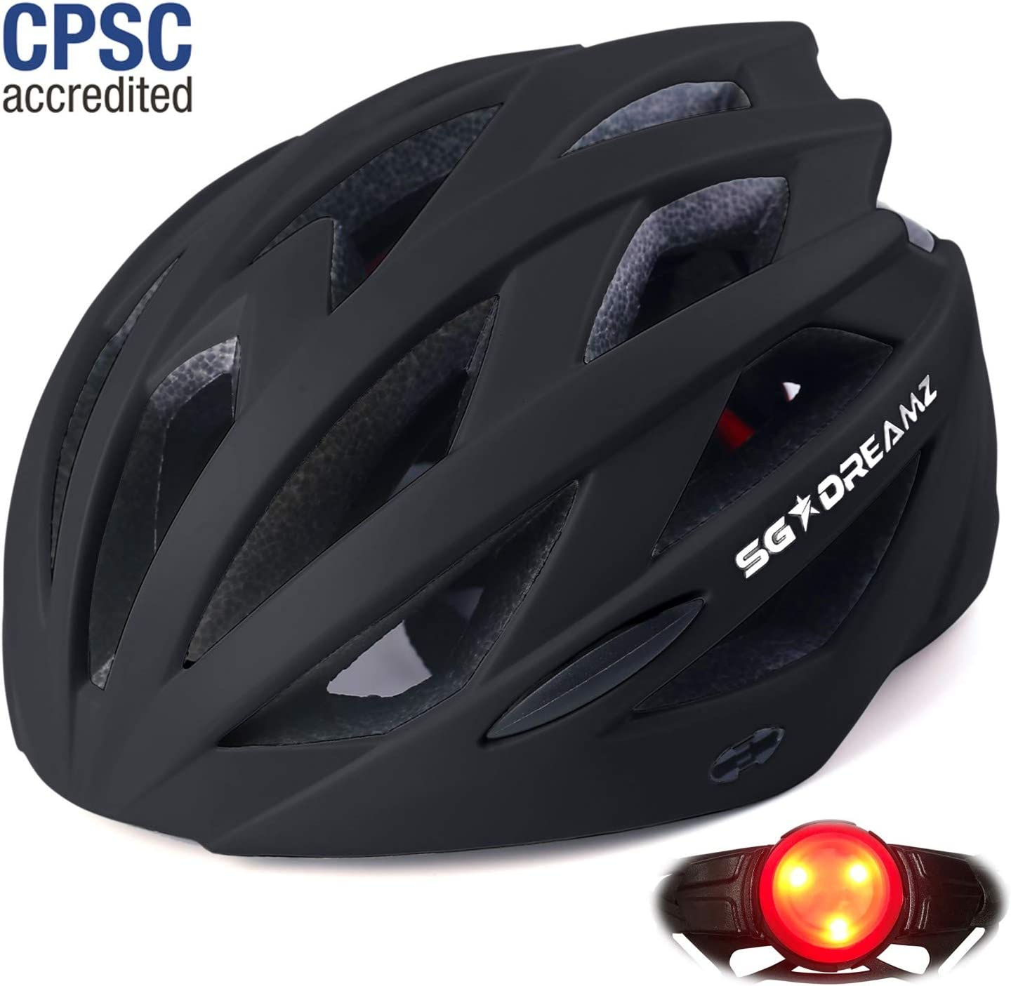 "Adult Helmet with LED Light and Detachable Visor - Bicycle Cycling Mountain Bike Helmet for Men and Women - Adjustable Dial for Head Size 21.6"" to 24"" (M to L) - CPSC Certified"