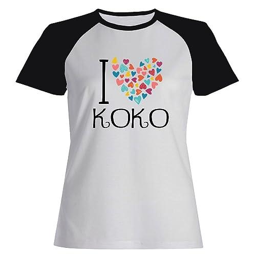 Idakoos I love Koko colorful hearts – Nomi Femminili – Maglietta Raglan Donna