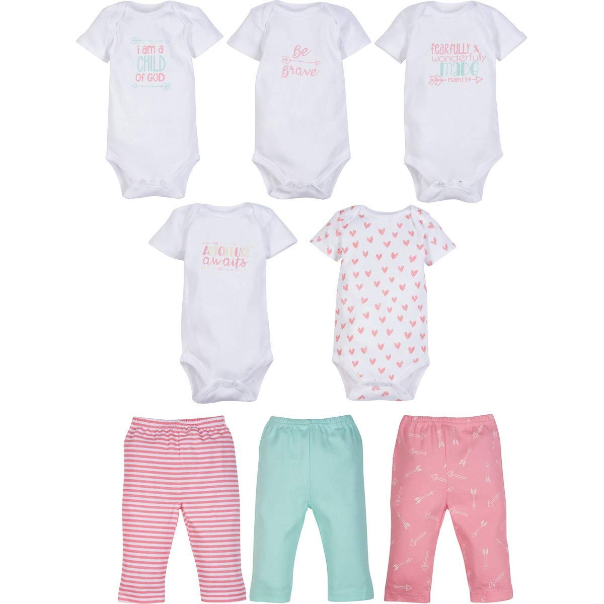 MiracleWear Cute Kids Outfits w//Bodysuit Rompers /& Pants Boy /& Girl Clothing Sets 8 Pcs