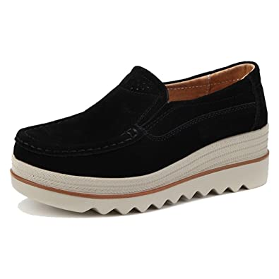 74b4b330ee1 Moonwalker Women s Suede Leather Slip-on Comfort Wedge Moccasins (4 D(M)