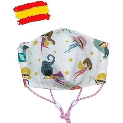 Mascarilla higiénica estampada reutilizable niña 7-9 años con filtro de 5 capas TNT_marca: Brissa España
