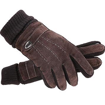 77505c2a50b7e5 PLL Im Freien einfache braune Handschuhe Herren Winter Reiten  Lederhandschuhe Winter warm gepolsterte Radfahren Baumwollhandschuhe