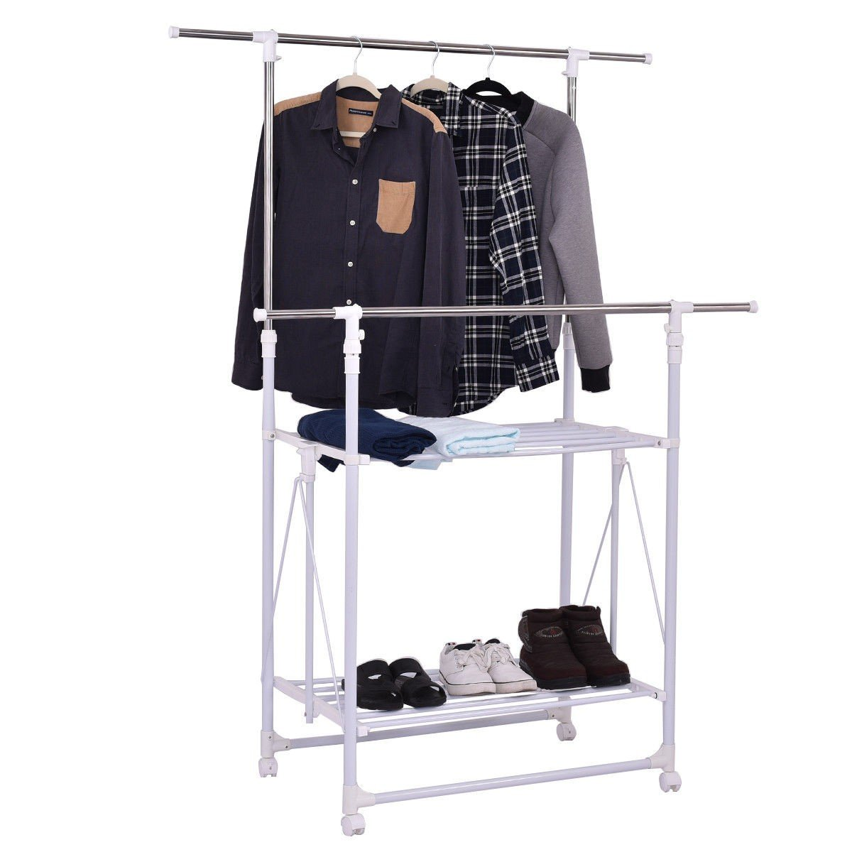 Double Rail Folding Adjustable Rolling Clothes Rack Hanger w/ 2 Shelves - By Choice Products