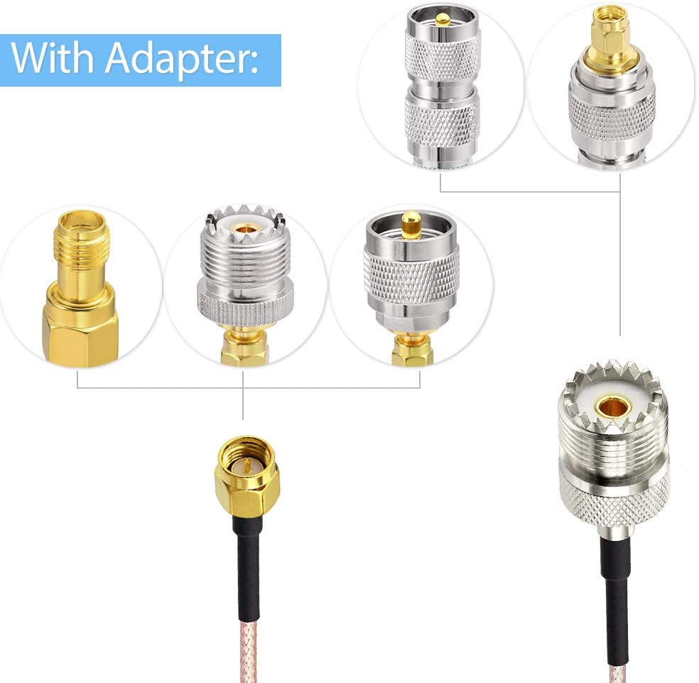 SMA to SO239//PL259 Adapter Kit for RF Applications//CB Radio//Handheld Radio Antenna//Walkie Talkie etc SMA to UHF Cable 5pcs Adapter Kit Superbat SMA Male to SO239 RF Coaxial Coax Cable 10ft