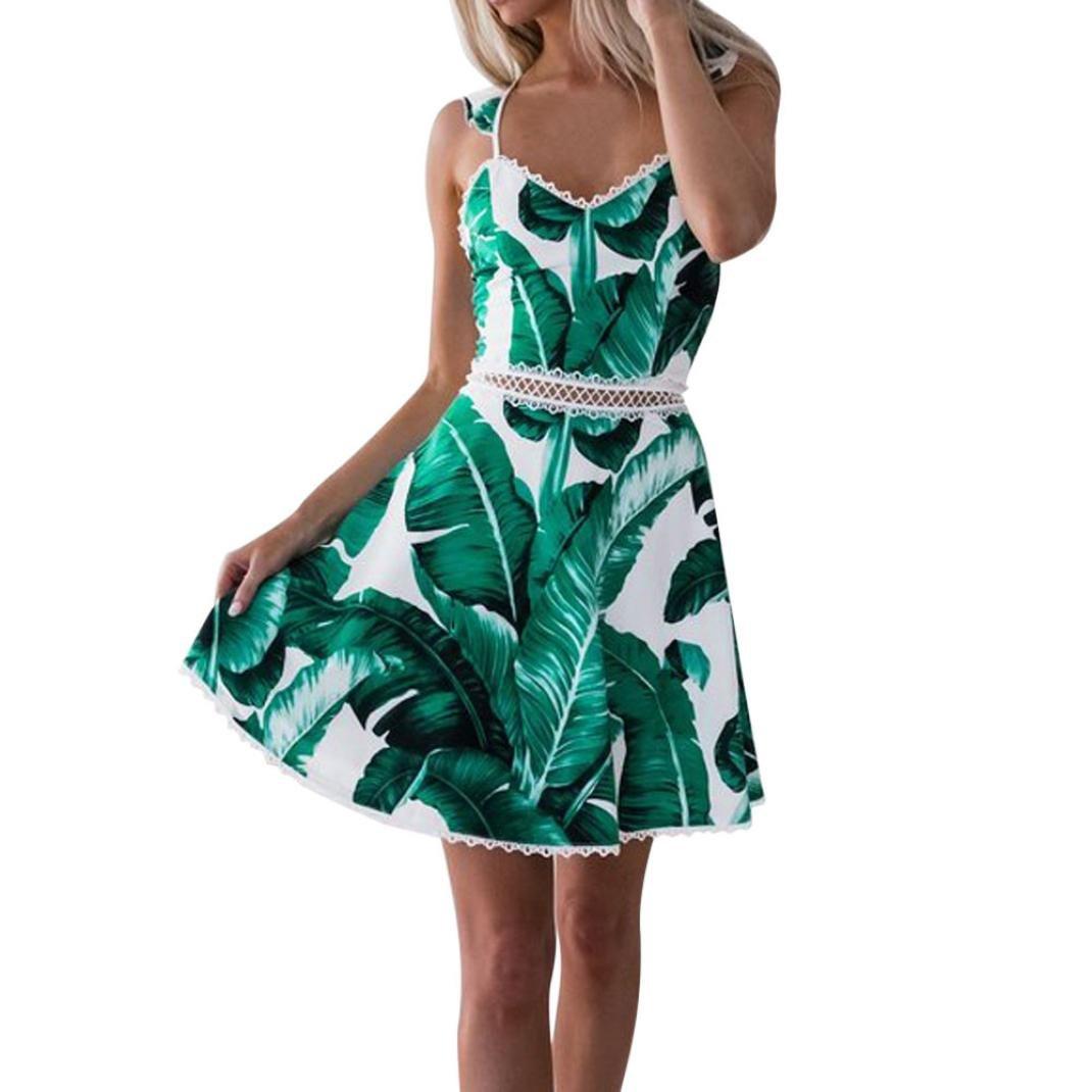 Kingko® Ausschnitt Kleid Damen Spitzenkleid Träger Rückenfreies Kleider Sommerkleider Strandkleider Grün