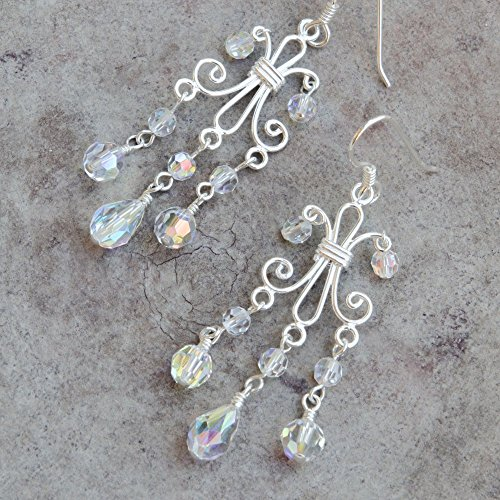 Sterling Silver Scroll Chandelier Earrings with Swarovski Crystals