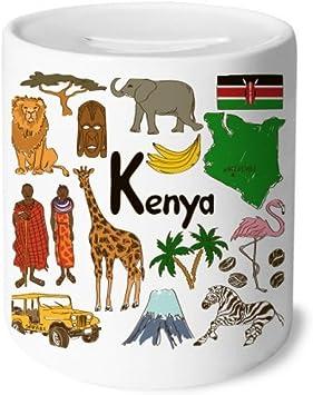 DIYthinker Kenia Landscap Animales Bandera Nacional Caja de Dinero de Las Cajas de ahorros de cerámica Adultos Moneda de la Caja para niños: Amazon.es: Juguetes y juegos