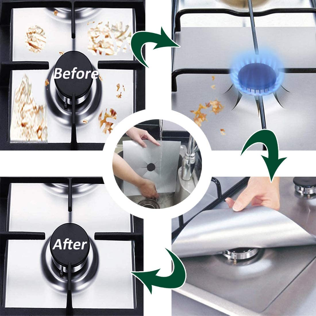 8 Pcs Xigeapg Stove Burner Covers Upgraded Double Thickness Silver Reusable Non-Stick Gas Stove Burner Liners Easy To Clean Heat Resistant