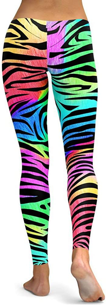 URIBAKE Fashion Womens Fitness Leggings Comfy Colored Striped Print Yoga Running Gym Stretch Sports Pants