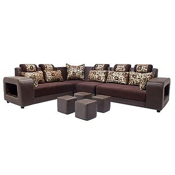 Woodpecker Saffron Six Seater L Shaped Sofa (Marble Brown): Amazon.in: Home  U0026 Kitchen
