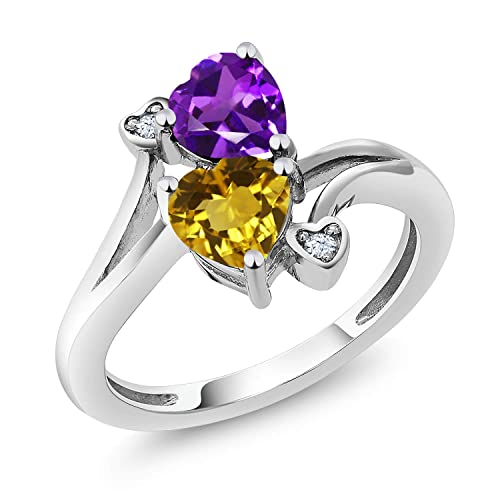 Gem Stone King Purple Amethyst and Yellow Citrine Gemstone Birthstone 925 Sterling Silver Women s Ring 1.38 Ct Heart Shape Available 5,6,7,8,9