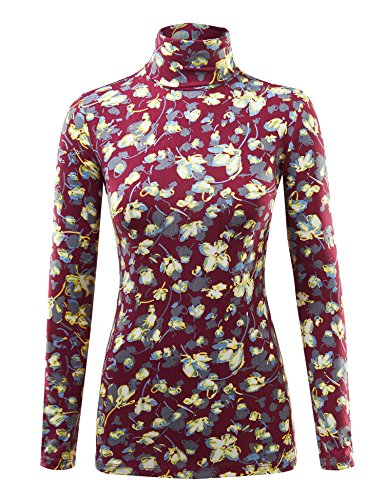 (WSK1325 Womens Print Long Sleeeve Turtleneck Sweater Knit Top L Yellow_RED)