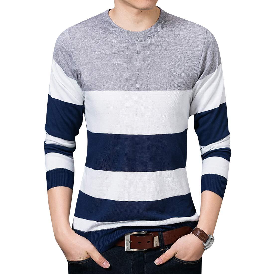 Coolred-Men Slouchy Contrast Long Sleeve Knitwear