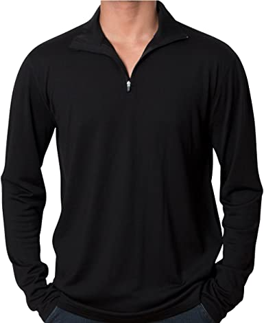 Men 100/% Merino Wool T Shirt Base Layer Long Sleeve Tops Odor Sweater 1//4 Zip