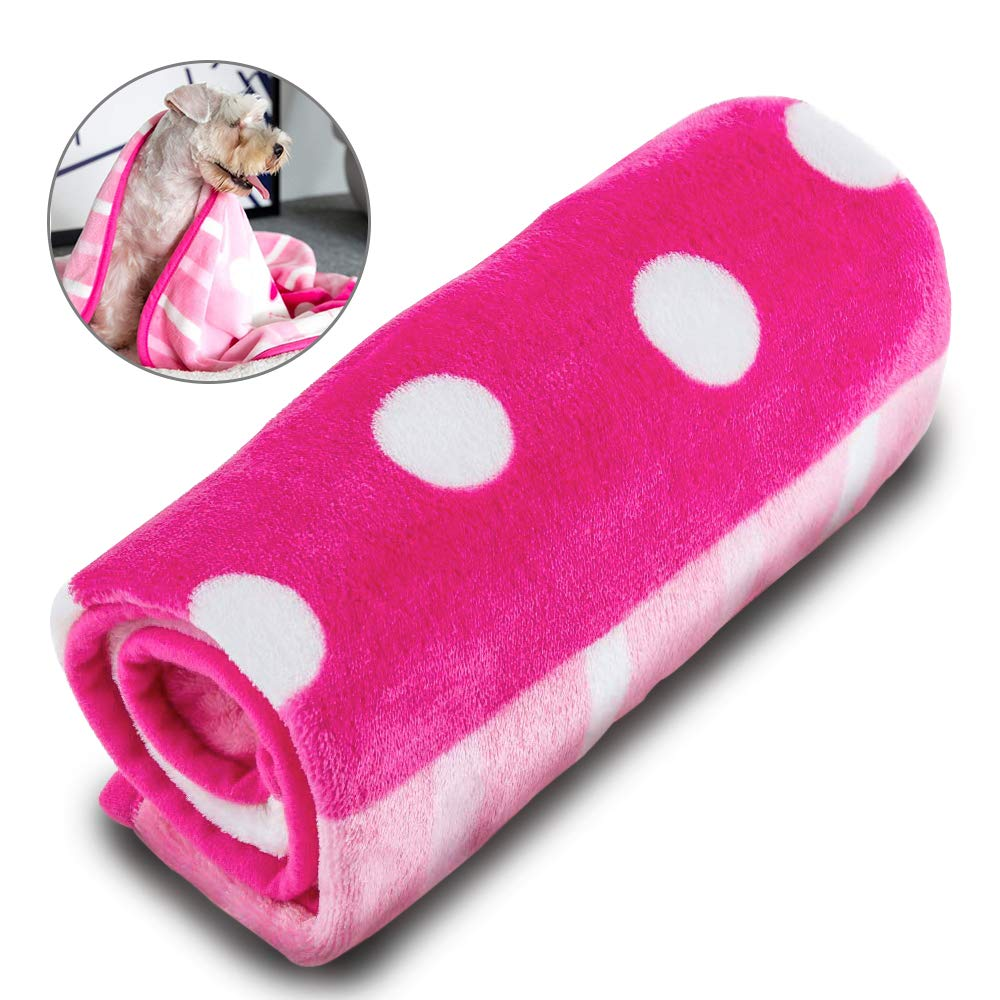 M PINK Allisandro Super Soft and Fluffy Premium Flannel Fleece Dog Throw Blanket,Appealing and Cute Paw Prints Equally for Puppy Cat
