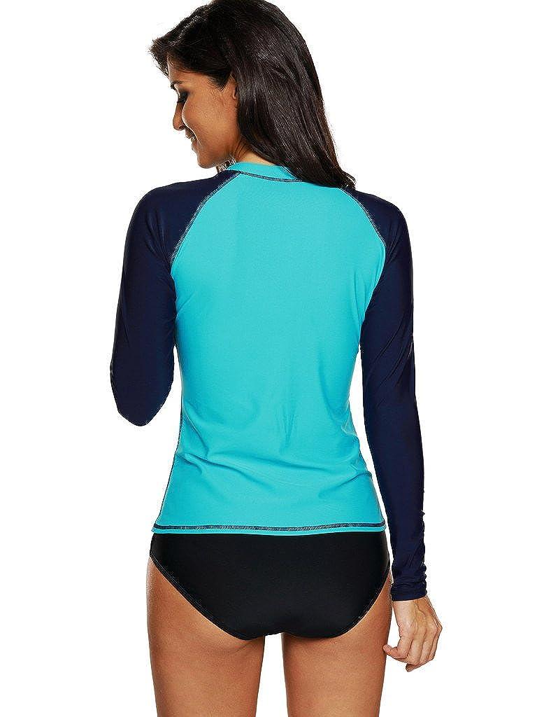 Rash Guards Surf Swimsuit Tops ATTRACO Womens Rash Vest Long Sleeve Swim Shirts UPF 50