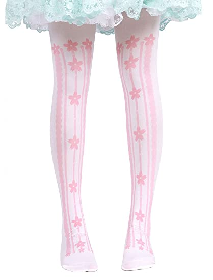 8fbfff72916 Amazon.com  Hugme Womens sweet pink flowers stripped print lolita thigh-high  stockings  Clothing