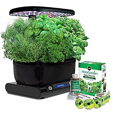 AeroGarden Harvest Wi-Fi (Classic) with Gourmet Herb Seed Pod Kit, Black