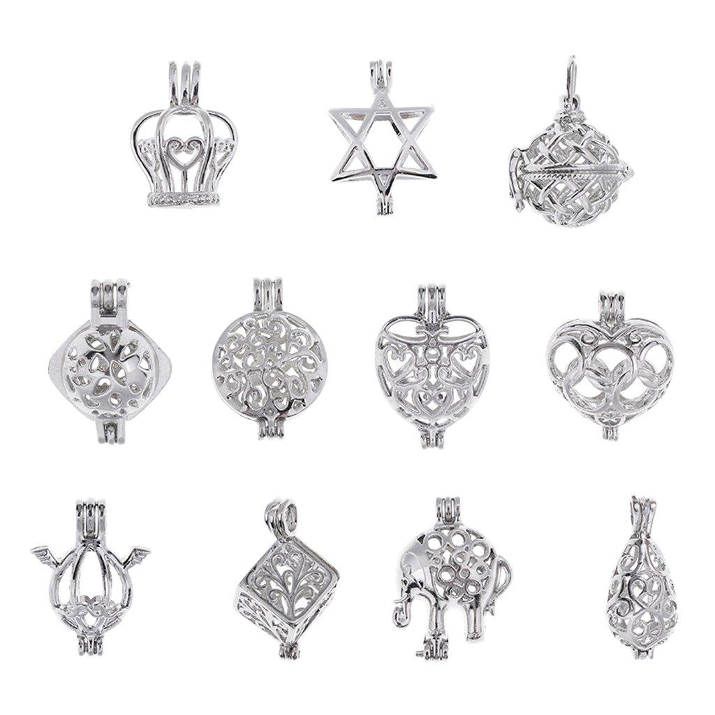 Sharplace 11pcs Breloque Vintage Pendentif Paramètres Perles Cage pour Clé Décoration Bricolage DIY Collier Bijoux Mariage