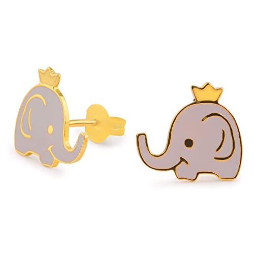 Monkimau 750Oro Plattierte Elefantes Pendientes Con Corona De Joyas Mujer Mujeres Niña Infantil Pendientes Regalo De S