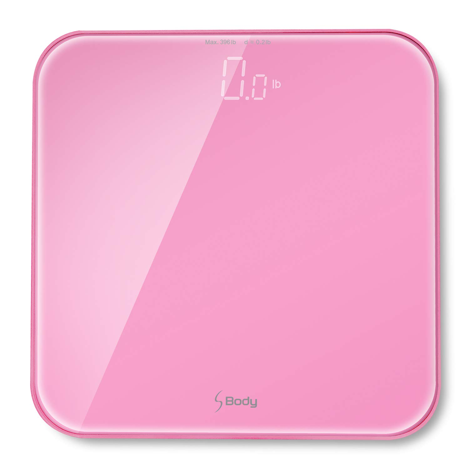 S Body High Precision Ultra Wide Digital Body Weight Bathroom Scale up to 396lb/180kg, Super-Clear Large LED Display,''Step-On'' Technology, Pink