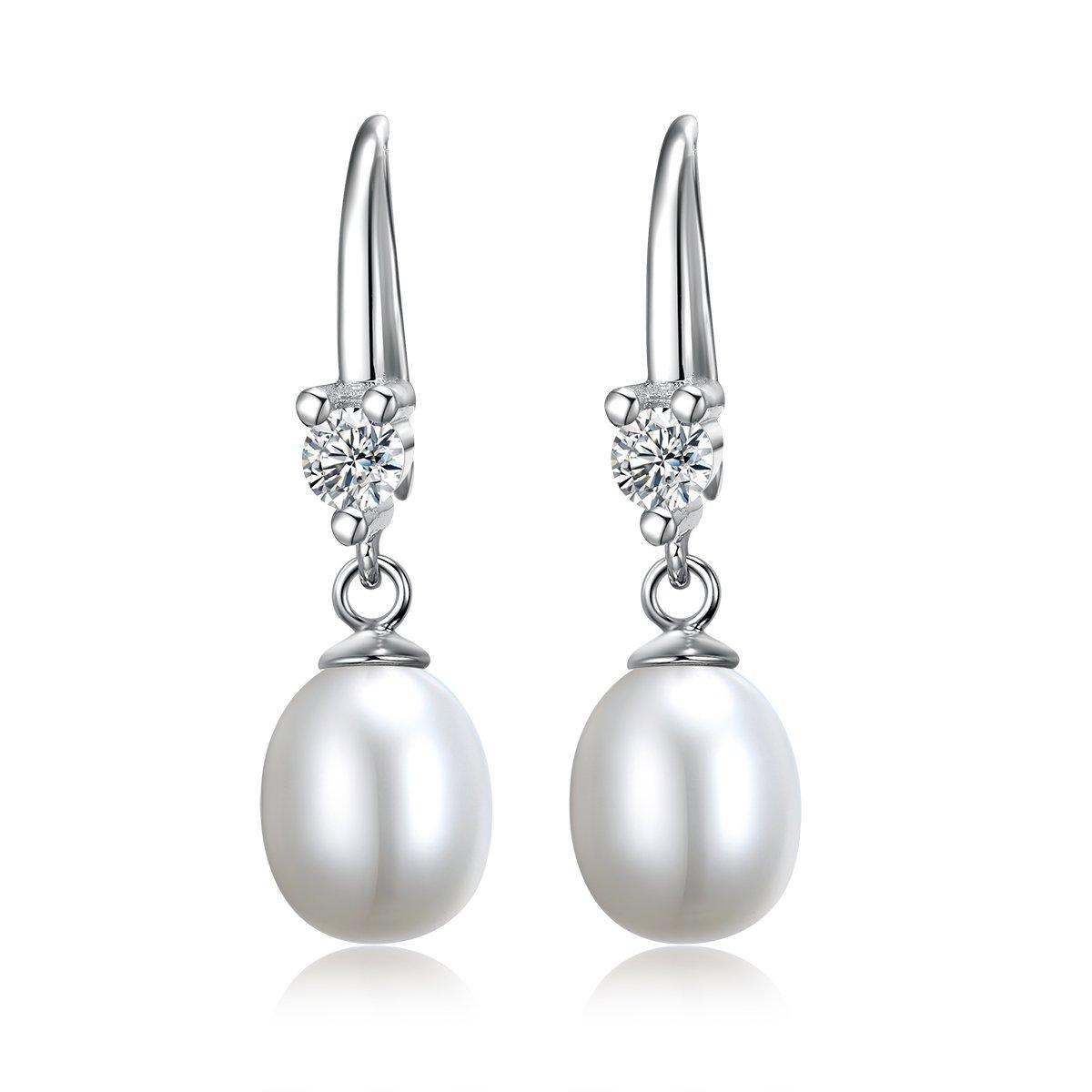 Ensemble collier et boucles d/'oreilles perles /éblouissant cadeau id/éal pour un mariage avec une cha/îne rolo en argent sterling de 45,7 cm un anniversaire, en argent sterling pr/ésent/é dans une bo/îte cadeau