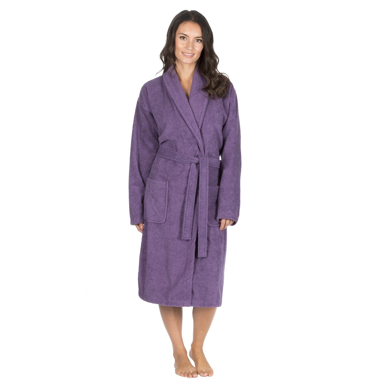 Forever Dreaming Womens Luxury French Towelling Bath Robe - 100% Cotton Shawl Collar Dressing Gown