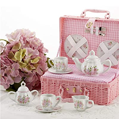 Delton Products 8115-0 Porcelain Tea Set in Basket, Country Flower: Kitchen & Dining