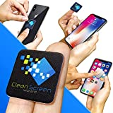 Clean Screen Wizard Microfiber Cell Phone Cleaner Sticker-Cleaning Pad Screen Cleaner for iPhone, Samsung Cell Phones, Small Electronic Devices, Tech Gadgets- Stocking Stuffers Gift Ideas (Black)