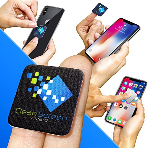 Screen 1 Cleaner (Clean Screen Wizard Microfiber Cell Phone Cleaner Sticker-Cleaning Pad Screen Cleaner for iPhone, Samsung Cell Phones, Small Electronic Devices, Tech Gadgets- Stocking Stuffers Gift Ideas (Black))