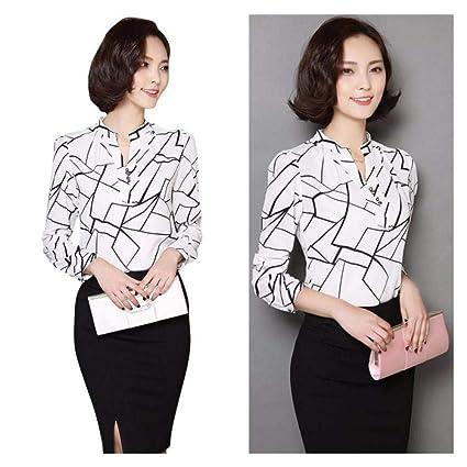 a01121c9 FidgetGear Women Summer Chiffon Work Wear Button Down Shirt Office Blouse  Casual White Tops White XL: Amazon.in: Home & Kitchen