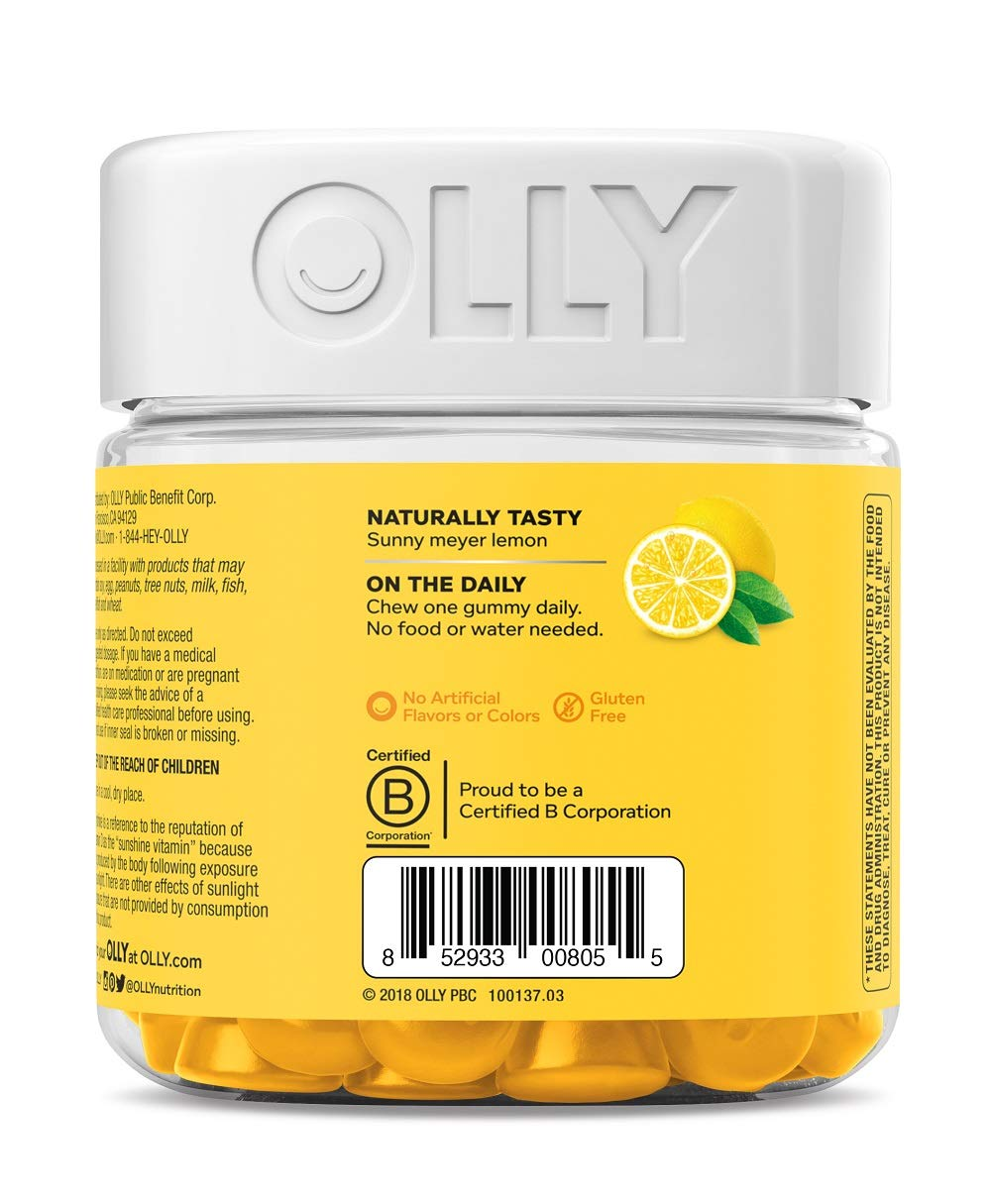 OLLY Sunny Vitamin D Gummy, 100 Day Supply (100 Gummies), Luminous Lemon, 2000 IU Vitamin D3, Chewable Supplement by Olly (Image #4)