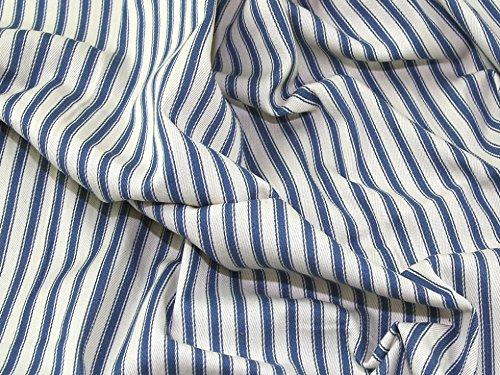 Ticking Stripe Woven Cotton Canvas Upholstery Fabric Denim Blue - per metre (Woven Ticking)