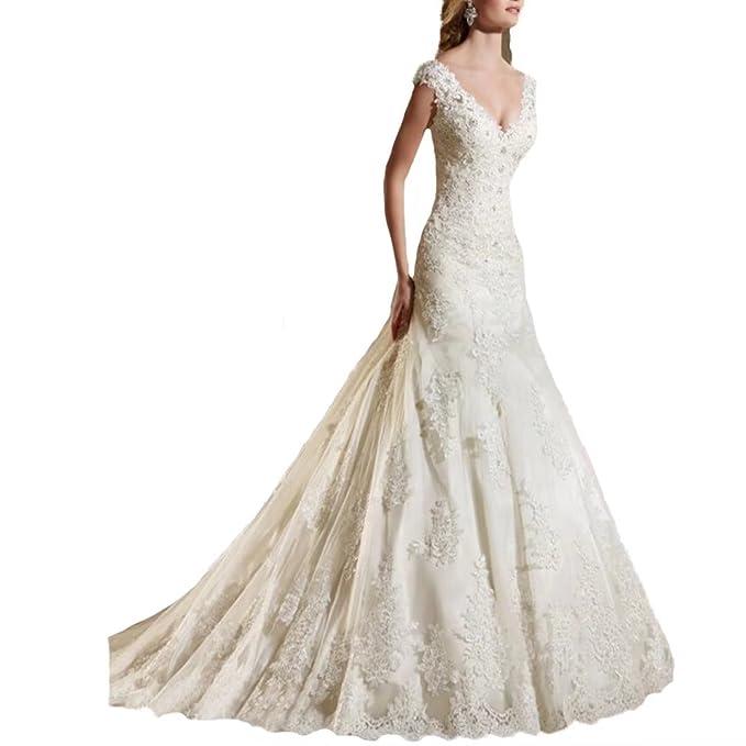 Amazon.com: TC novia encaje vestido de novia de sirena de ...