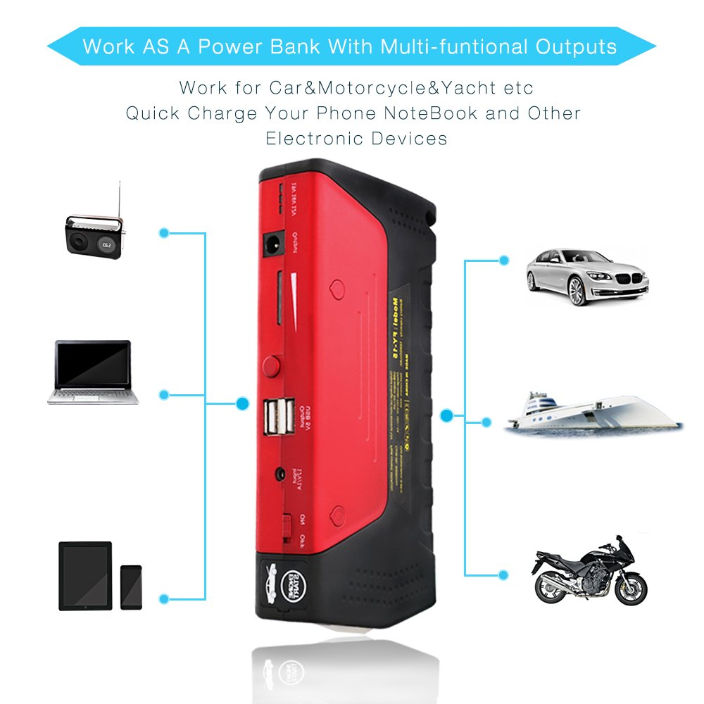 Car Jump Starter 600A Peak Up to 6.0L Gas or 4.5L Diesel Engine Tire Inflator Premium Portable Phone Power Bank Auto Battery Charger Pack Booster with Dual Quick Charge Output Built in LED Light & USB by fustrong (Image #4)