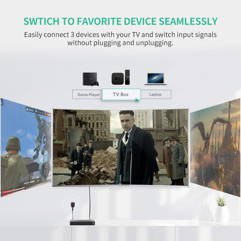 UGREEN HDMI Switch 4K, 3 Ports HDMI Switcher Hub Splitter 4K@30Hz/2K/1080P/3D with IR Remote Control for PC Laptop, Xbox 360/One, PS4/PS3, Nintendo Switch, Blu-ray player, Apple TV, Roku/Fire Stick by UGREEN (Image #2)