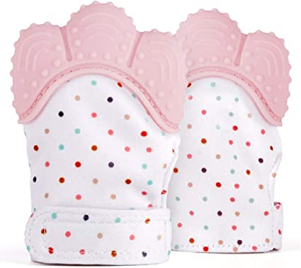 Baby Teething Mittens Self Soothing Pain Relief Mitt Stimulating Teether Toy w C
