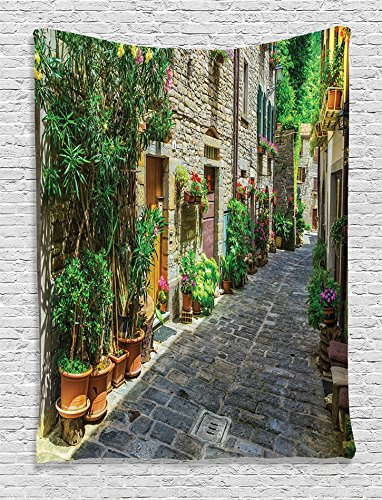 Ambesonne Tuscan Decor Collection, Tuscan House Build with Cobblestone Decorated Flowers Plants Picture, Bedroom Living Kids Girls Boys Room Dorm Accessories Wall Hanging Tapestry, Green Beige Grey (Best Decorated Dorm Rooms)
