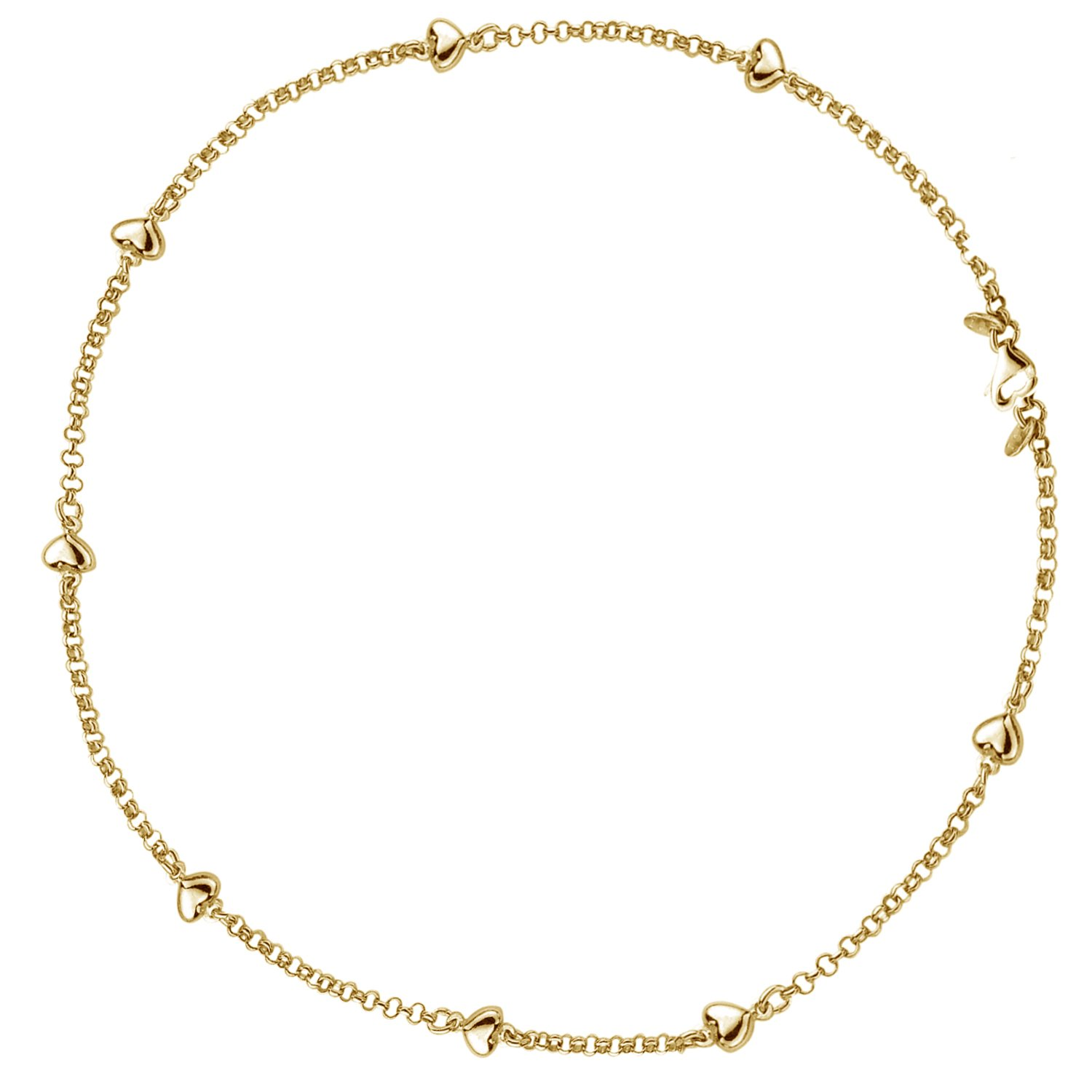 14k Real Yellow Gold Puffed Heart Love Anklet 10 Inches
