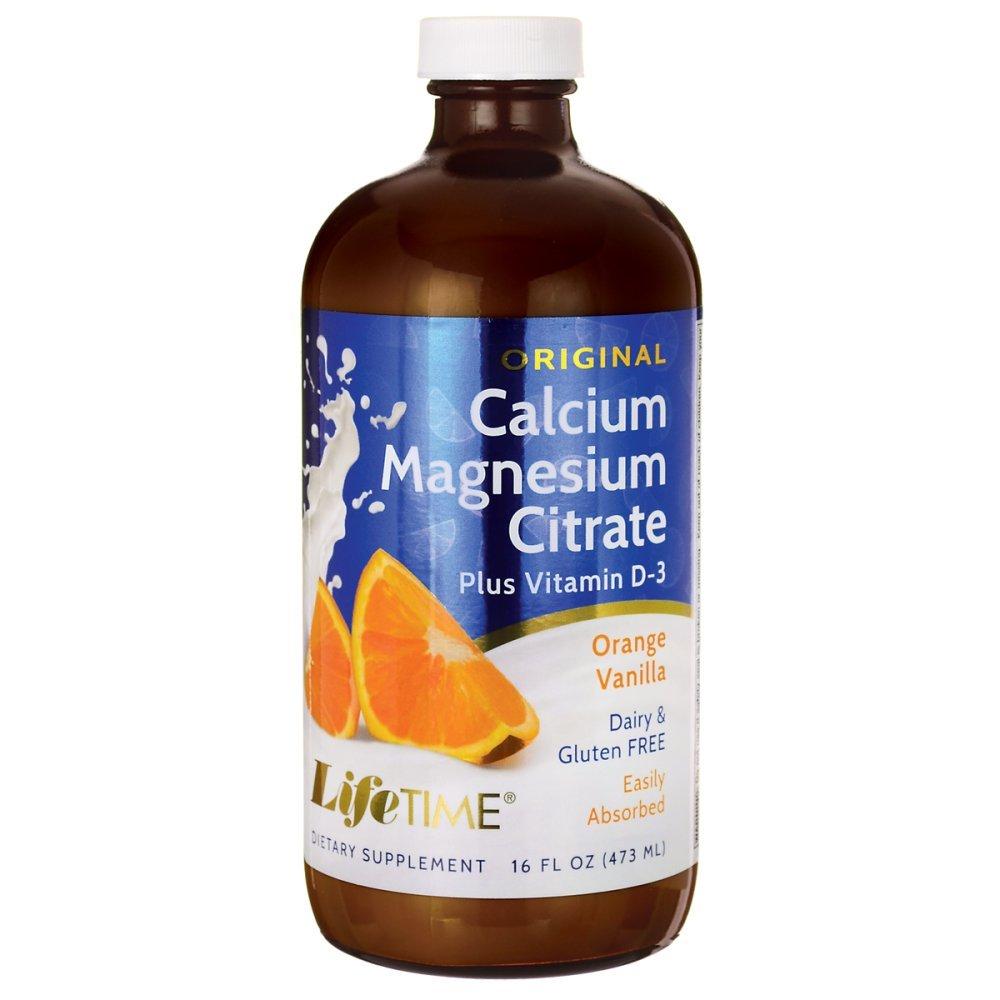 LifeTime Calcium Magnesium Citrate, Orange/Vanilla, 16 Ounce Glass Bottle