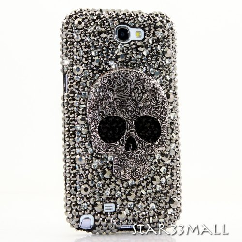 Samsung Note 2 Luxury 3D Bling Case - Rocky Rock 'n Roll Silver Ton Sugar Skull Design - Swarovski Crystal Diamond Sparkle Girly Protective Cover Faceplate (100% Handcrafted By Star33mall)