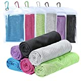 Cooling Towel [6 Pack] Microfiber Towel Fast Drying - Super Absorbent - Ultra Compact Cooling Towel Sports, Workout, Fitness, Gym, Yoga, Pilates, Travel, Camping & More