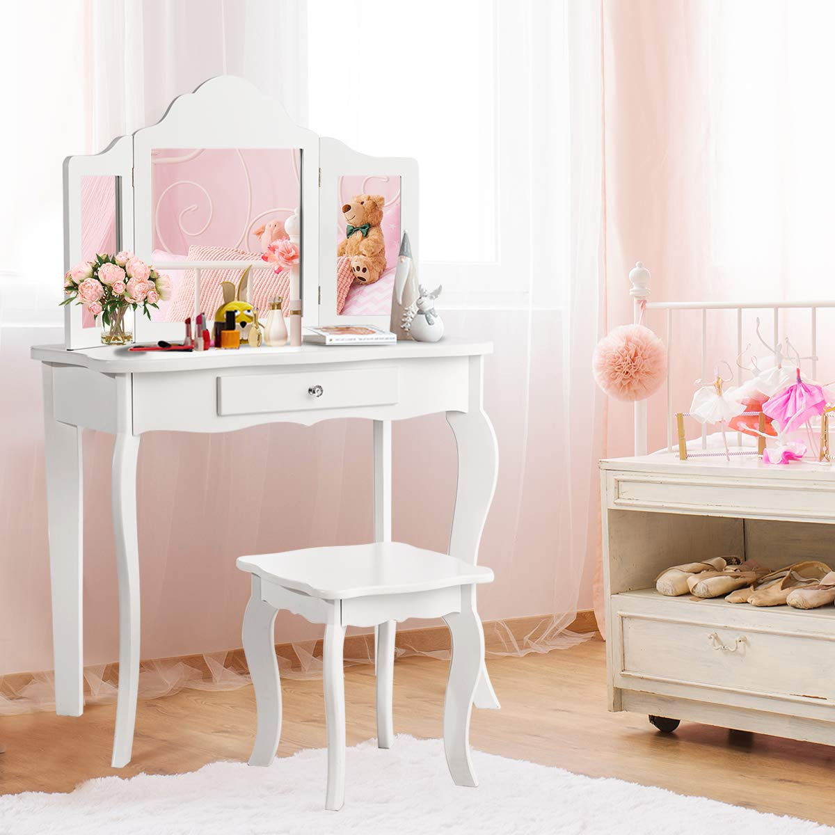 Costzon Kids Wooden Vanity Table & Stool Set, 2 in 1 Detachable Design with Dressing Dable and Writing Desk, Princess Makeup Dressing Table with Two 180° Folding Mirror, for Girls, Kids, White (42 IN) by Costzon