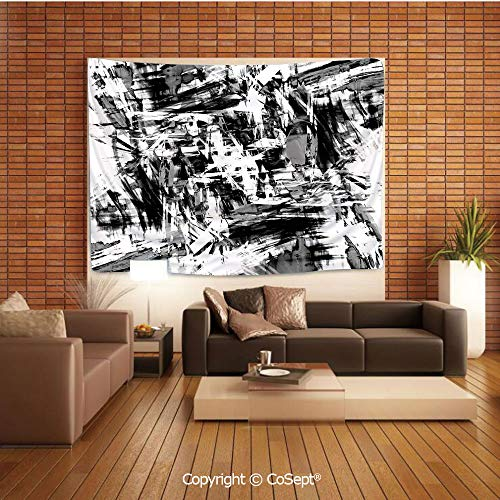 PUTIEN Polyester Fabric Tapestry,Old Grunge Style Abstract Art Brushstrokes Chaos Image,Tapestry Art Print Tapestry for RoomBlack White Grey