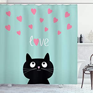 Ambesonne Valentines Shower Curtain, Kitty Heart Cat Companions Illustration, Cloth Fabric Bathroom Decor Set with Hooks, 70