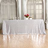 3e Home 60×120'' Rectangle Sequin TableCloth for Party Cake Dessert Table Exhibition Events, Silvery