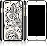 iPhone 6/6s case,Berry Accessory(TM) Damask Henna Floral Paisley Flower Hard Plastic Case Silicone Skin Cover for Apple Iphone 6 /6s 4.7 inch Screen (Black)
